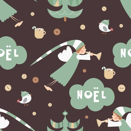 Christmas Seamless pattern - Cute Christmas Characters and Objects - Angel, Trees, Bird. Xmas retro dark background. Vector Print for Wallpaper, Packing. Don't contain clipping mask and gradient.
