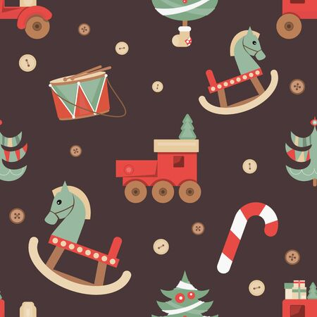 Christmas Seamless pattern - Cute Christmas Characters and Objects - Wooden Toys and Tree. Xmas retro background. Vector Print for Wallpaper, Packing. Don't contain clipping mask and gradient. Stock Illustratie