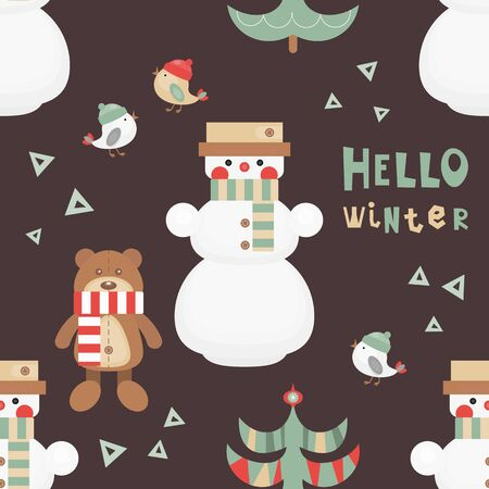 Christmas Seamless pattern - Cute Christmas Characters and Objects - Snowman, Bear, Tree, Birds. Xmas dark background. Vector Print for Wallpaper, Packing. Don't contain clipping mask and gradient. Stockfoto - 147432890