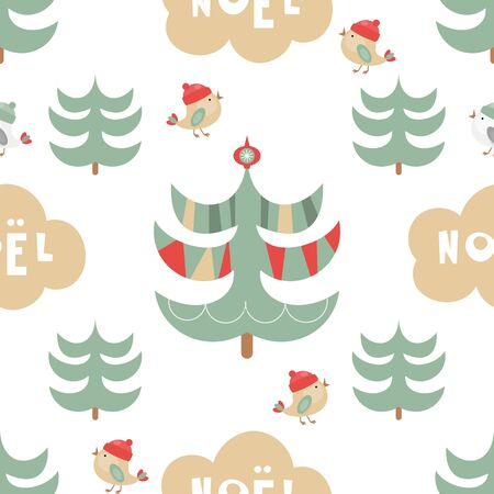 Christmas Seamless pattern. Cute Christmas Characters and Objects - Trees, Birds, Lettering. Xmas background. Vector Print for Wallpaper, Packing. Don't contain clipping mask and gradient.
