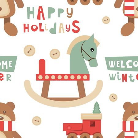 Christmas Seamless pattern. Cute Christmas Characters and Objects - Wooden Toys, Lettering. Xmas background. Vector Print for Wallpaper, Packing. Don't contain clipping mask and gradient.