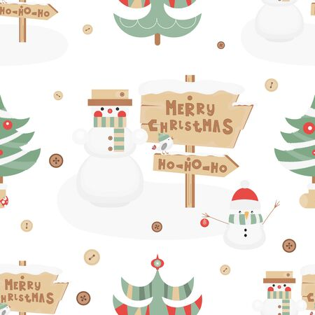 Christmas Seamless pattern. Cute Christmas Characters and Objects - Snowman, Signpost and Tree. Xmas background. Vector Print for Wallpaper, Packing. Don't contain clipping mask and gradient. Stock Illustratie