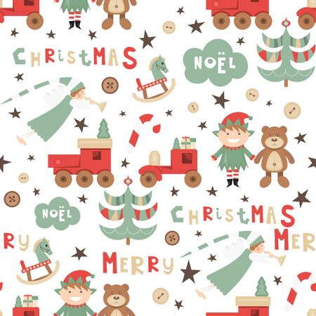 Christmas Seamless pattern. Cute Christmas Characters and Objects - Angel, Elf, Bear, Tree, Wooden Toys. Xmas background. Vector Print for Wallpaper, Packing. Don't contain clipping mask and gradient.