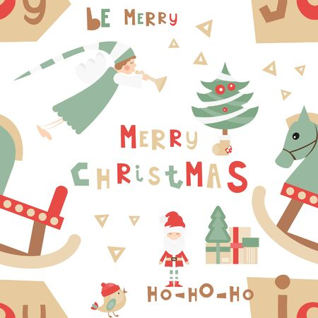 Christmas Seamless pattern - Cute Christmas Characters and Objects - Santa, Angel, Wooden Horse, Tree. Xmas background. Vector Print for Wallpaper, Packing. Don't contain clipping mask and gradient. Stock Illustratie