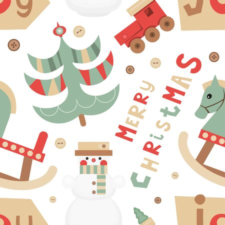 Christmas Seamless pattern - Cute Christmas Characters and Objects - Wooden Toys, Snowman and Tree. Xmas background. Vector Print for Wallpaper, Packing. Don't contain clipping mask and gradient. Stock Illustratie