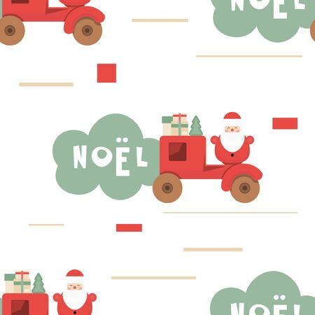 Christmas Seamless pattern - Cute Christmas Characters and Objects - Wooden Car with Santa and Gifts. Xmas background. Vector Print for Wallpaper, Packing. Don't contain clipping mask and gradient.