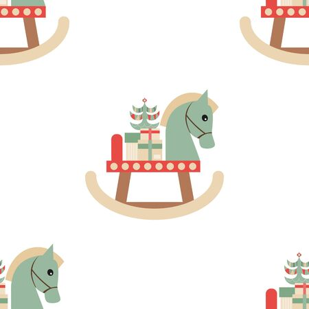 Christmas Seamless pattern - Cute Christmas Characters and Objects - Wooden Horse with Gifts. Xmas background. Vector Print for Wallpaper, Packing. Don't contain clipping mask and gradient.
