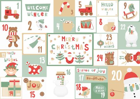 Advent calendar. Kids Christmas Poster with Cartoon Christmas Characters and Symbols. Vector Illustration. Set of Cards with Dates. Stockfoto - 147436347