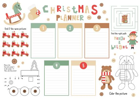 Christmas Kids Planner Template. Schedule for Children. Set of Kids Puzzles for Preschool, Kindergarten, School. Vector illustration. Cute Xmas Characters and Objects. From December 1 to 5.