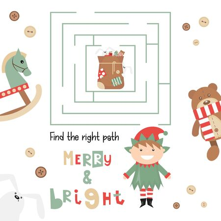 Christmas Labyrinth. Help Elf  Find the Right Path to Bag with Gifts. Christmas Games for Preschool, Kindergarten, School. Vector Illustration. Maze Game.