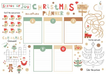 Christmas Kids Planner Template. Schedule for Children. Set of Kids Puzzles for Preschool, Kindergarten, School. Vector illustration. Cute Xmas Characters and Objects. From December 6 to 10.