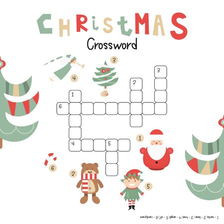 Christmas Kids Crossword in English. Puzzle Game with Cartoon Christmas Characters and Symbols - Santa, Elf, Bear, Angel, Candy, Tree. Games for Preschool, Kindergarten, School. Vector Illustration. Stock Illustratie