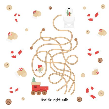 Christmas Labyrinth. Help Toy Car Find the Right Path to Polar Bear. Christmas Games for Preschool, Kindergarten, School. Vector Illustration. Maze Game.