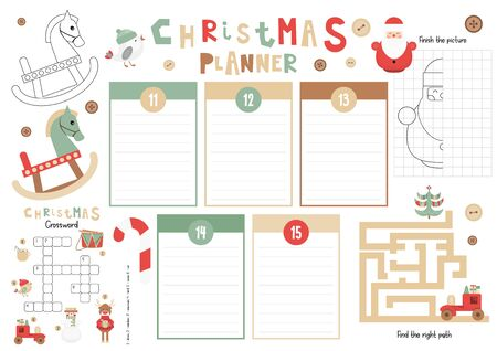 Christmas Kids Planner Template. Schedule for Children. Set of Kids Puzzles for Preschool, Kindergarten, School. Vector illustration. Cute Xmas Characters and Objects. From December 11 to 15.