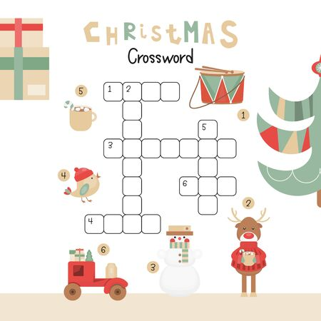 Christmas Kids Crossword in English. Puzzle Game with Cartoon Christmas Characters and Symbols - Snowman, Reindeer, Bird, Drum, Cacao. Games for Preschool, Kindergarten, School. Vector Illustration. Stock Illustratie