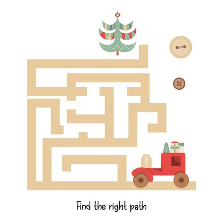 Christmas Labyrinth. Help Toy Car Find the Right Path to Tree. Christmas Games for Preschool, Kindergarten, School. Vector Illustration. Maze Game. Stockfoto - 147437208