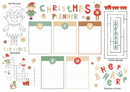 Christmas Kids Planner Template. Schedule for Children. Set of Kids Puzzles for Preschool, Kindergarten, School. Vector illustration. Cute Xmas Characters and Objects. From December 16 to 20.