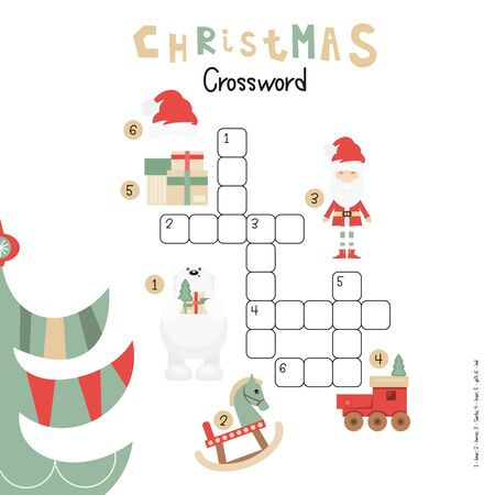 Christmas Kids Crossword in English. Puzzle Game with Cartoon Christmas Characters and Symbols - Santa, Polar Bear, Toys, Gifts. Games for Preschool, Kindergarten, School. Vector Illustration.