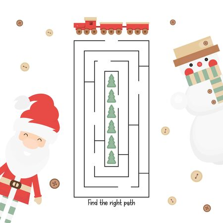 Christmas Labyrinth. Help Train Find the Right Path to Trees. Christmas Games for Preschool, Kindergarten, School. Vector Illustration. Maze Game.