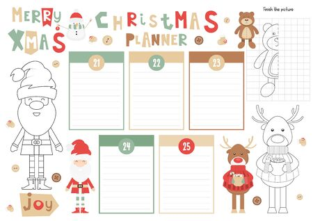 Christmas Kids Planner Template. Schedule for Children. Set of Kids Puzzles for Preschool, Kindergarten, School. Vector illustration. Cute Xmas Characters and Objects. From December 21 to 25.