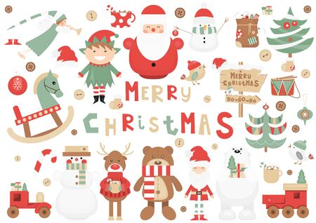 Funny Christmas Characters Set. Cute Santa, Reindeer, Snowman, Bear, Wooden Toys, Christmas Trees. Isolated on White background. Vector illustration.