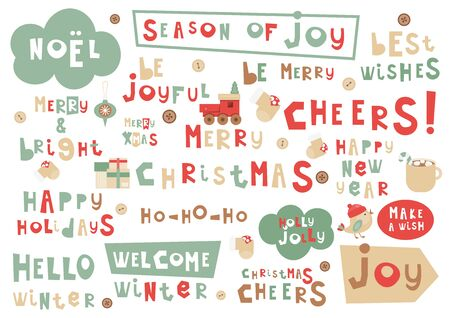 Christmas Phrases Set. Hand Drawn Xmas and New Year Quotes, Phrases and Words. Vector Illustration.