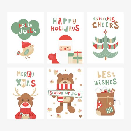 Christmas Greeting Cards or Posters Set - Cartoon Christmas Characters and Objects - Santa, Reindeer, Bear. Kids Illustration for Baby Clothes, Invitations,  Nursery Decor. Vector Illustration. Stockfoto - 147491939