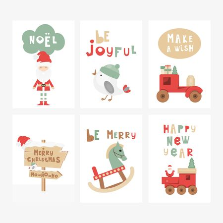 Christmas Greeting Cards or Posters Set - Cartoon Christmas Characters and Objects - Santa, Wooden Toys. Kids Illustration for Baby Clothes, Invitations,  Nursery Decor. Vector Illustration.