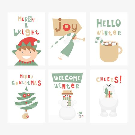 Christmas Greeting Cards or Posters Set - Cartoon Christmas Characters and Objects - Elf, Angel, Snowman. Kids Illustration for Baby Clothes, Invitations,  Nursery Decor. Vector Illustration. Stockfoto - 147491940