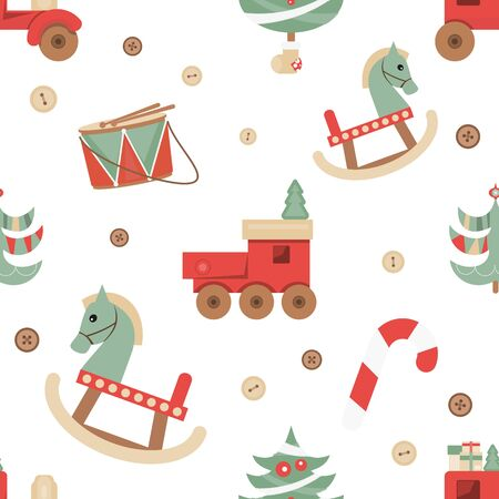 Christmas Seamless pattern - Cute Christmas Characters and Objects - Wooden Christmas Toys and Tree. Xmas background. Vector Print for Wallpaper, Packing. Don't contain clipping mask and gradient. Stockfoto - 147491938