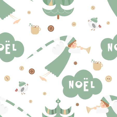 Christmas Seamless pattern - Cute Christmas Characters and Objects - Angel, Trees, Bird. Xmas background. Vector Print for Wallpaper, Packing. Don't contain clipping mask and gradient.