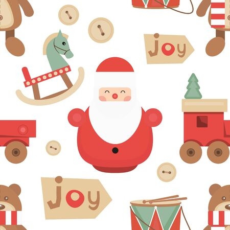 Christmas Seamless pattern - Cute Christmas Characters and Objects - Santa, Wooden Christmas Toys. Xmas background. Vector Print for Wallpaper, Packing. Don't contain clipping mask and gradient.