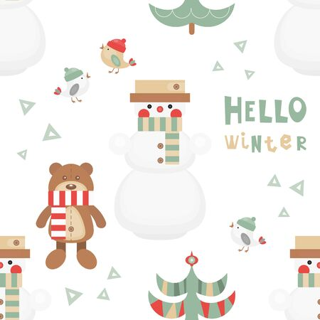 Christmas Seamless pattern - Cute Christmas Characters and Objects - Snowman, Bear, Tree, Birds. Xmas background. Vector Print for Wallpaper, Packing. Don't contain clipping mask and gradient. Stock Illustratie