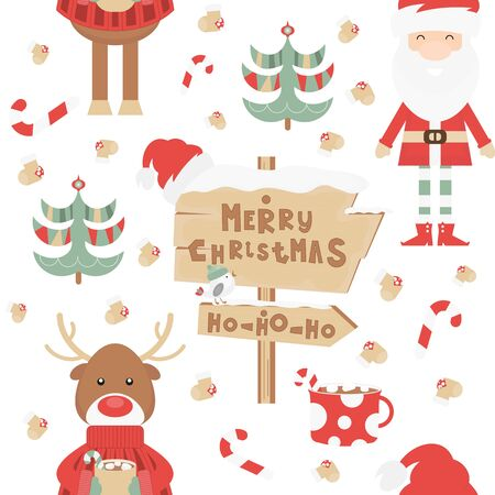 Christmas Seamless pattern - Cute Christmas Characters and Objects - Santa, Reindeer, Tree, Signpost. Xmas background. Vector Print for Wallpaper, Packing. Don't contain clipping mask and gradient. Stock Illustratie