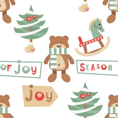 Christmas Seamless pattern. Cute Christmas Characters and Objects - Bear Toy, Trees, Wooden Horse. Xmas background. Vector Print for Wallpaper, Packing. Don't contain clipping mask and gradient.