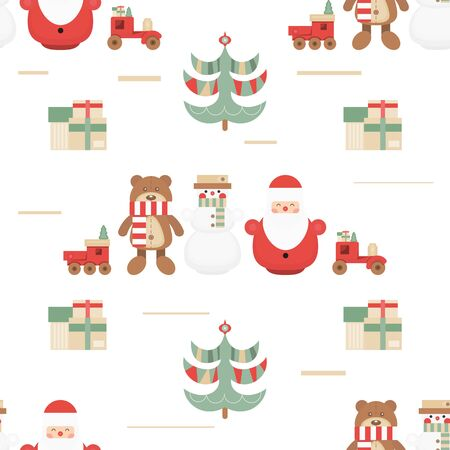 Christmas Seamless pattern. Cute Christmas Characters and Objects - Santa, Trees, Snowman, Bear, Toys. Xmas background. Vector Print for Wallpaper, Packing. Don't contain clipping mask and gradient.