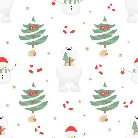 Christmas Seamless pattern. Cute Christmas Characters and Objects - Polar Bear, Trees, Snowman. Xmas background. Vector Print for Wallpaper, Packing. Don't contain clipping mask and gradient. Stock Illustratie