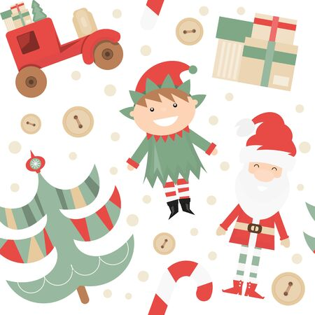 Christmas Seamless pattern. Cute Christmas Characters and Objects - Santa, Trees, Elf, Car. Xmas background. Vector Print for Wallpaper, Packing. Don't contain clipping mask and gradient.
