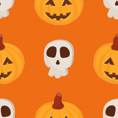 Halloween Seamless Pattern - Cartoon Halloween Characters – Pumpkin, Skull. Vector Illustration.  Pattern don't contain gradient and clipping mask.