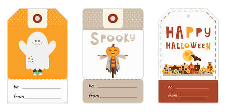 Halloween Gift Tags Set with Halloween Characters and Symbols – Ghost, Jack-o-lantern, Autumn City. Vector Illustration. Stock Illustratie