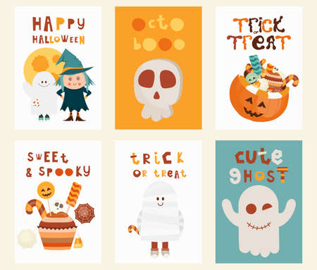 Halloween Posters Set. Cartoon Halloween Characters and Elements - Witch, Ghost, Mummy, Pumpkins, Skull, Sweets. Kids Illustration for Greeting Card, Packaging. Vector Illustration. Stock Illustratie