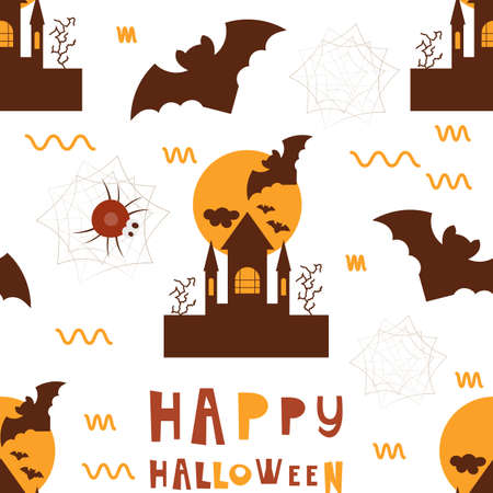 Halloween Seamless Pattern - Cartoon Halloween Characters – Bat, Spider, Castle. Vector Illustration.  Pattern don't contain gradient and clipping mask.