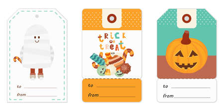 Halloween Gift Tags Set with Halloween Characters and Symbols – Mummy, Sweets, Pumpkin. Vector Illustration.
