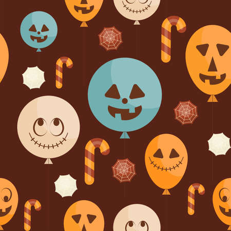 Halloween Seamless pattern - Cartoon Halloween Characters - Funny Balloons. Vector Illustration.  Pattern don't contain gradient and clipping mask.