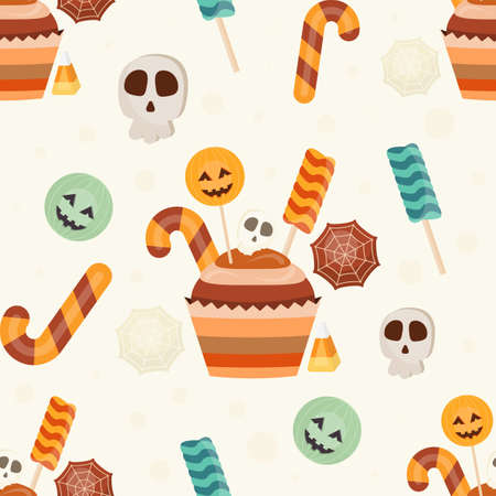 Halloween Seamless Pattern - Cartoon Halloween Characters – Pumpkin, Skull, Sweets. Vector Illustration. Pattern don't contain gradient and clipping mask.