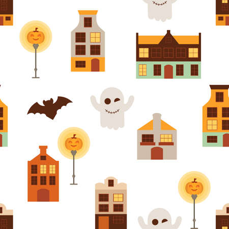 Halloween Seamless Pattern - Cartoon Halloween Characters – Ghost, Bat, Jack-o-lantern. Vector Illustration.  Pattern don't contain gradient and clipping mask.