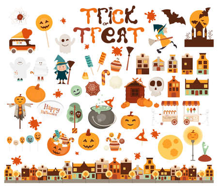 Funny Halloween Characters and Elements Collection. Witch, Mummy, Ghost, Jack-o-lantern, Pumpkins, Bat. Isolated on White background. Vector illustration.