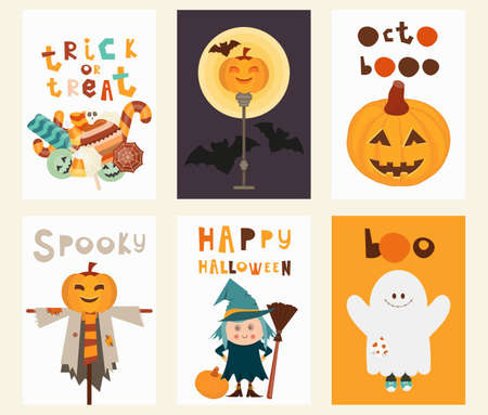 Halloween Posters Set. Cartoon Halloween Characters and Elements - Witch, Ghost, Scarecrow, Pumpkins, Bat, Jack-o-lantern. Kids Illustration for Greeting Card, Packaging. Vector Illustration.