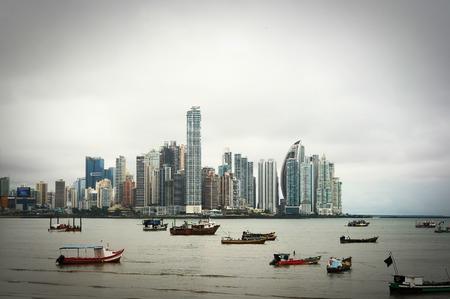 Old boats at Modern City. Panama City view.