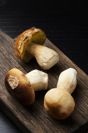 cep: Ceps on wooden cutting board